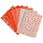 LA HAUTE 7Pcs 50x50cm Orange Fabric Bundles Flower Printed Cotton Fabric Comfortable Patchwork Fabric Home Textile Material Cloth for Sewing