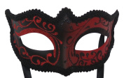 Mask & Co Mens or Women's Quality Red & Black Venetian Masquerade Party Ball Eye Halloween Mask