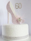 60th Pink and White Birthday Cake Decoration Shoe with Feathers and Crystal Flower Embellishments and Diamante Number Non- Edible