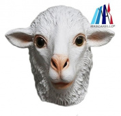 MASCARELLO® Latex White Sheep Full Head Overhead Animal Cosplay Masquerade Fancy Dress Up Carnival Mask