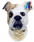 MASCARELLO® Latex Full Head Realistic House Pet Bulldog Fancy Dress Up Party Carnival Mask