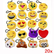 JZK 20 pcs mini plush toy, 5cm / 2 inch emoji keychain emoji keyring for kids & adult birthday party favours, party bag fillers, party supplies decorations