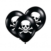 Pack of 6 Black Skull Pirate Themed Party Latex Balloons - Perfect for a Kids Pirate Fancy Dress Party, Halloween, Little Boy's Birthday Party