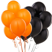 Pack of 25 Assorted Bright Orange and Black Latex 30cm Balloons Party Decorations - Coordinate with other orange and black decorations - Ideal for Halloween, special occasions, birthday's, wedding's, anniversaries, Easter party, new years eve, Christma ..