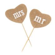 Fablcrew Wedding Bunting Burlap Mr Mrs Heart Shape jute Bunting Banner Rustic Party Cake Topper Decor pack of 2