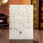 WISHMADE Wedding Invitations Kits 50X with Rhinestone Ivory Laser Cut Floral Design for Marriage Birthday Party Invites Cards cw5001