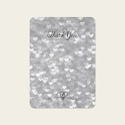 Silver Heart Pattern - Wedding Thank You Cards - Pack of 10