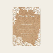 Rustic Lace Pattern - Save the Date Cards - Pack of 10