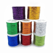 Metallic Glitter Thread 8 Pack 1mm Shiny Decorative Embroidery Sewing Craft DIY By Accessories Attic