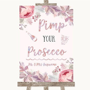 Blush Rose Gold & Lilac Pimp Your Prosecco Personalised Wedding Sign