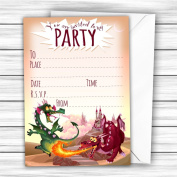 Pack of 20 Glossy Funny Dragons Party Invitations Cards with 20 x Envelopes, cute, glossy surface, Magical Party fairy, unicorn, fairytale, dino, dinosaurs, for boys and girls, for adults and children