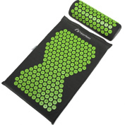 Supportiback® Wellness Therapy Acupressure Mat & Pillow Set - Relieve Back And Neck Pain, Relax Muscles, Relieve Insomnia - Includes Washable Cover, Travel Bag