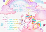 10 x Personalised Unicorn Birthday Party Invitations or Thank you Cards