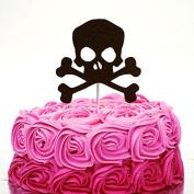 Pirate Cake Topper - Boys Party Skull and Crossbones Cake Topper - Glitter Black