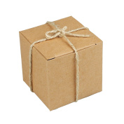 """vLoveLife 50pcs Square Favour Gift Boxes + 50pcs Free Natural Jute Twine Cute Kraft Paper Gift Candy Box Baby Shower Birthday Party Favour Boxes - 5.1cm x 5.1cm x 2"""""""