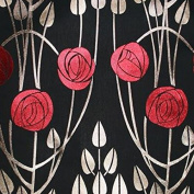 Charles Rennie Mackintosh Style Fabric - Clyde Roses Cuillin Black, Sample 10 x 14 cm