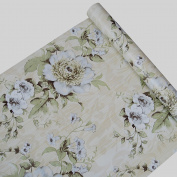 Self Adhesive Decorative Vintage Floral Contact Paper Shelf Liner Peel and Stick Removable Wallpaper for Shelves Drawer Furniture Wall Arts and Crafts Decoration 45cm x 200cm