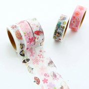 Jooks Kawaii Tapes Cartoon Adhesive Tape Sticky Paper Masking Adhesive Tape Mix Designs Set for Scrapbooking Craft 5M