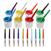 Umsole 10 Pieces Paint Brushes in 10 Colours and 8 Pieces Assorted Coloured Spill Proof Paint Cups