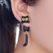 Cat Women Stud Earrings jewellery,Handmade earring for mens girls kids-Black