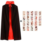 Halloween Cape, Unisex Vampire Reversible Cloak with Stand-up Collar, Devil Costume with 19 Sheets Scar Tattoo Stickers for Kids and Adults