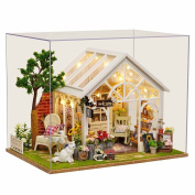 DIY Wooden DollHouse, Sunlight Greenhouse Model Handcraft Miniature Kit with Music box for Birthday Xmas Gift