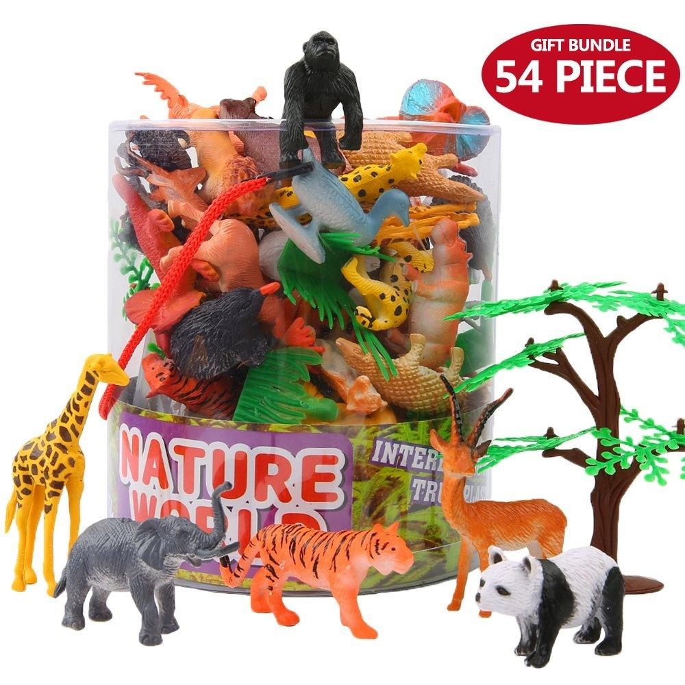 Animals Figure,54 Piece Mini Jungle Animals Toys Set With