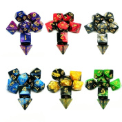 Polyhedral Dice, 6 x 7 (42 Pieces) Double Colours Table Game Dice, for Dungeons and Dragons DND RPG MTG D20 D12 D10 D8 D6 D4 with 6 Free Pouches