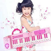 Electronic Musical Piano Karaoke Toy - Hanmun 2017 New Design Folded Multifunction 37 Keys Keyboard Piano Instrument for 3+ Girls with Real Working Microphone and Colourful Light MP3 Record Sing Pink