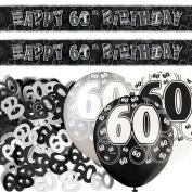 Unique BPWFA-4126 Glitz 60th Birthday Foil Banner Party Decoration Kit, Black