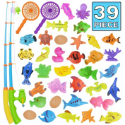Fishing Toy,Bath Toy,39 Piece Magnetic Fishing Toy,Original Colour Waterproof Floating Bathtub Toy Fishing Learning Education Play Set,Outdoor Fun Fishing Game Great Gift For Todders Kids