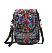 YAANCUN Womens Embroidered Flowers Cross Body Bag Small Crossbody Phone Bag Ethnic Style Shoulder Bags