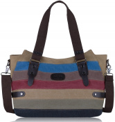 Womens Handbags,COOFIT Shoulder Handbags Striped Canvas Tote Crossbody Bags for Women