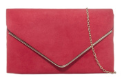 Girly HandBags Faux Suede Clutch Bag Envelope Metallic Frame Plain Design Evening -- Red