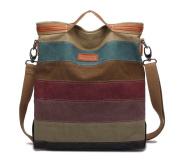 KAUKKO Fashion Elegant Striped Canvas Totes Handbag Women's Hobos and Shoulder Bags Slingbag