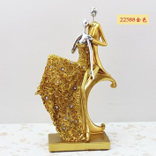 SU@DA Crafts European Style Creative Resin Plating Couple Character Decoration Wine Cabinet Wedding Gifts Valentine 's Day , 22588 gold