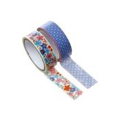 creafirm – 2 Rolls of Masking Tape 15 mm Flower and Polka Dot Blue