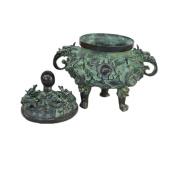PENG Chinese Cuisine Bronze Crafts Wholesale Antique Miscellaneous Copper Incense Furnace Decoration Antique Bronze Baishou Long Furnace