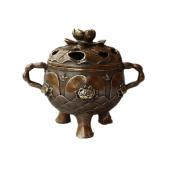 PENG Chinese antique antique brass lotus incense burner