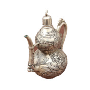 PENG Chinese antique collection of metal crafts Decoration micro - landscape home jewellery silver white gourd jug