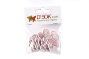 disok – Pack with 10 Adhesives Pacifier Wood Pink