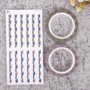ZHUOTOP Fashion Self Adhesive Colourful 3mm Washi Masking Tape DIY Craft Tape Sticker Decor 2Pcak,T1