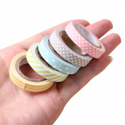 ECYC 5 Pcs/Pack Candy Colour Rainbow Striped Dots Washi Tape DIY Decorative Paper Tape