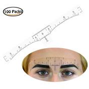 Rancco® Adhesive Eyebrow Ruler Sticker, 100 Pcs Eyebrow Measurement Ruler Template Stencil Sticker Tattoo Shaper Measure Tool