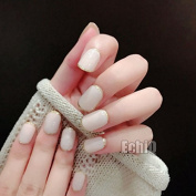 EchiQ Fashion Beige False Nails Tips with Bling Gold Glitter Surrounding Full Artificial Fake Nail for Home Office