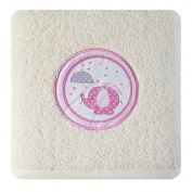 Children's Terry Towelling Bath Towel 50x90 cm Absorbent 450 GSM 19 Cream Pink Elephant Design