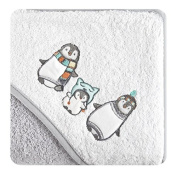 Children Hooded Towel Bath Towel 75 x 75 cm Terry Cloth Bath Towel Absorbent Hooded Bath Towel Universal 450 GSM Penguin White Grey