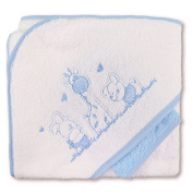 Pekitas Baby's Hooded Bath Cape 75 x 75 cm and Flannel 100% Cotton Embroidered Design Made in Portugal White-Blue