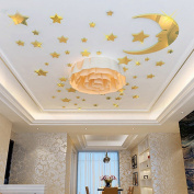 3D Acrylic Crystal Stereo Wall Stickers Children Cartoon Cartoon Bedside Wall Wall Decoration Starry Moon,XL,Blue and yellow