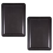 2x Large 30cm Steel Oven Baking Trays - Non-Stick Rectangle Roasting Tin/Sheet/Pans